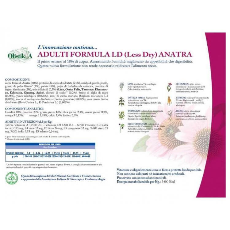 vet line adulti formula ld anatra grain free 1kg crocchette cane 1